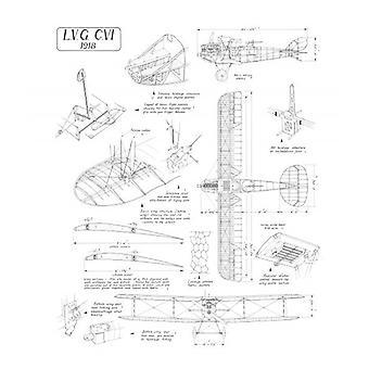 LVG C.VI Cutaway Drawing. Box Canvas Print. LVG C.VI Cutaway Drawing.