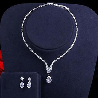 Water Drop Pendant Necklace And Earrings Bridal Wedding Jewelry