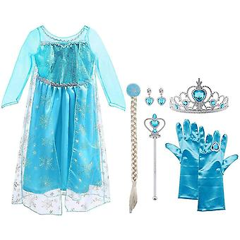 FengChun ELSA Prinzessin Kostm Kinder Deluxe Fancy Blaues Kleid,Accessoires und Schuhe fr Mdchen,