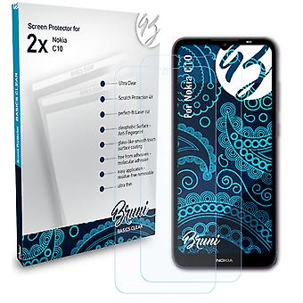 Bruni 2x Screen Protector compatible with Nokia C10 Protective Film