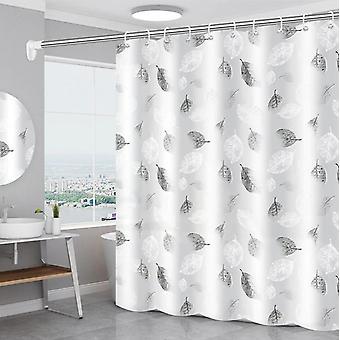 Gray leaves Shower Curtain Romantic Art Waterproof PEVA  Curtain for Bath with Hooks(180CM*180CM)