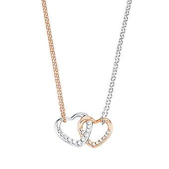 Amor Women's necklace with heart-shaped pendant, silver 925 rose gold plated, with white zircons(1)
