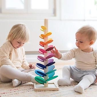 Montessori Baby Puinen kirjoitusasu Rakennuspalikat Terälehti puu Lelu Sateenkaari Pallo's