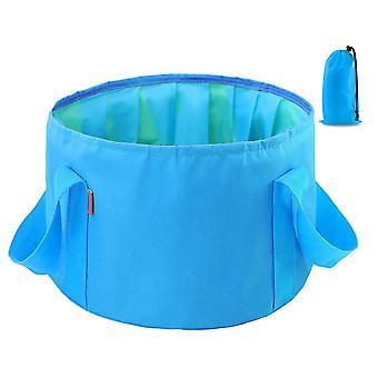 Blue 14l oxford cloth 14l portable folding basin outdoor camping portable bucket homi4357
