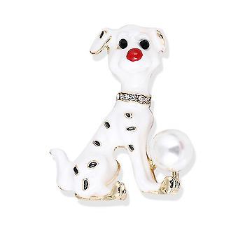 Cute Brooch Pin Spotted Dog Corsage Painted Enamel Pearl Ladies Brooch