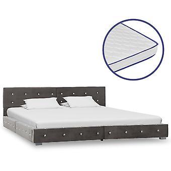 vidaXL sänky muistivaahto patja harmaa sametti 180x200cm