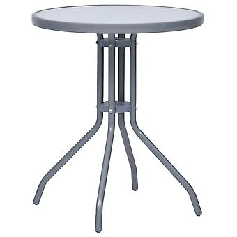 vidaXL havebord lysegrå 60 cm stål og glas