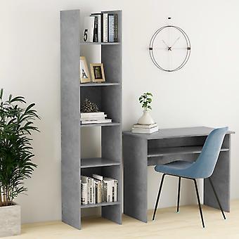 vidaXL bibliothèque en béton gris 40x35x180 cm panneau de particules