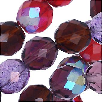Czech Fire Polished Glass Beads, Faceted Round 10mm, 50 Pieces, Vineyard Mix