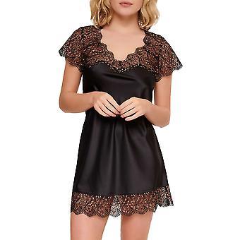 LingaDore 6620S-02 Women's Black Floral Nightdress
