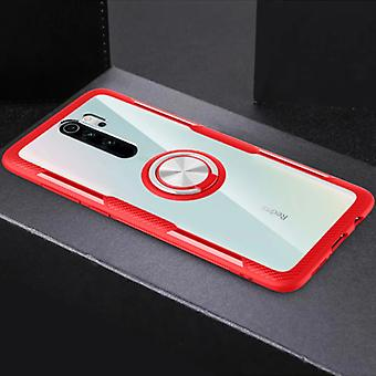 Keysion Xiaomi Redmi Note 9 Case with Metal Ring Kickstand - Transparent Shockproof Case Cover PC Red