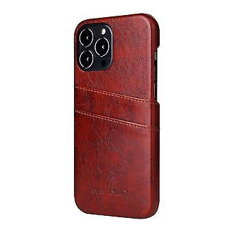 For iPhone 13 Pro Case Deluxe Lær Lommebok Tilbake Shell Slank Deksel Brun