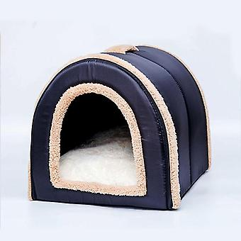 Dvojí použití Móda Super Soft Plyšová psí kočičí postel, teplý zimní dům pro domácí mazlíčky, venkovní psi postel pet