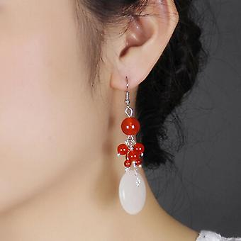 Special Offer Korean Ornament National Style Natural Agate Earring Long Safety Lock Vintage Earring Classic Ornament