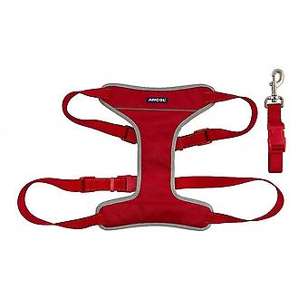 Pet collars harnesses nylon travel exercise harness red extra large 68-116cm