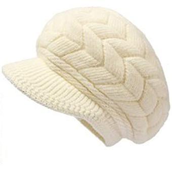 Dámské zimní teplé pletené klobouky Králičí kožešina Sněhová lyžařská čepice se sluneční clonou