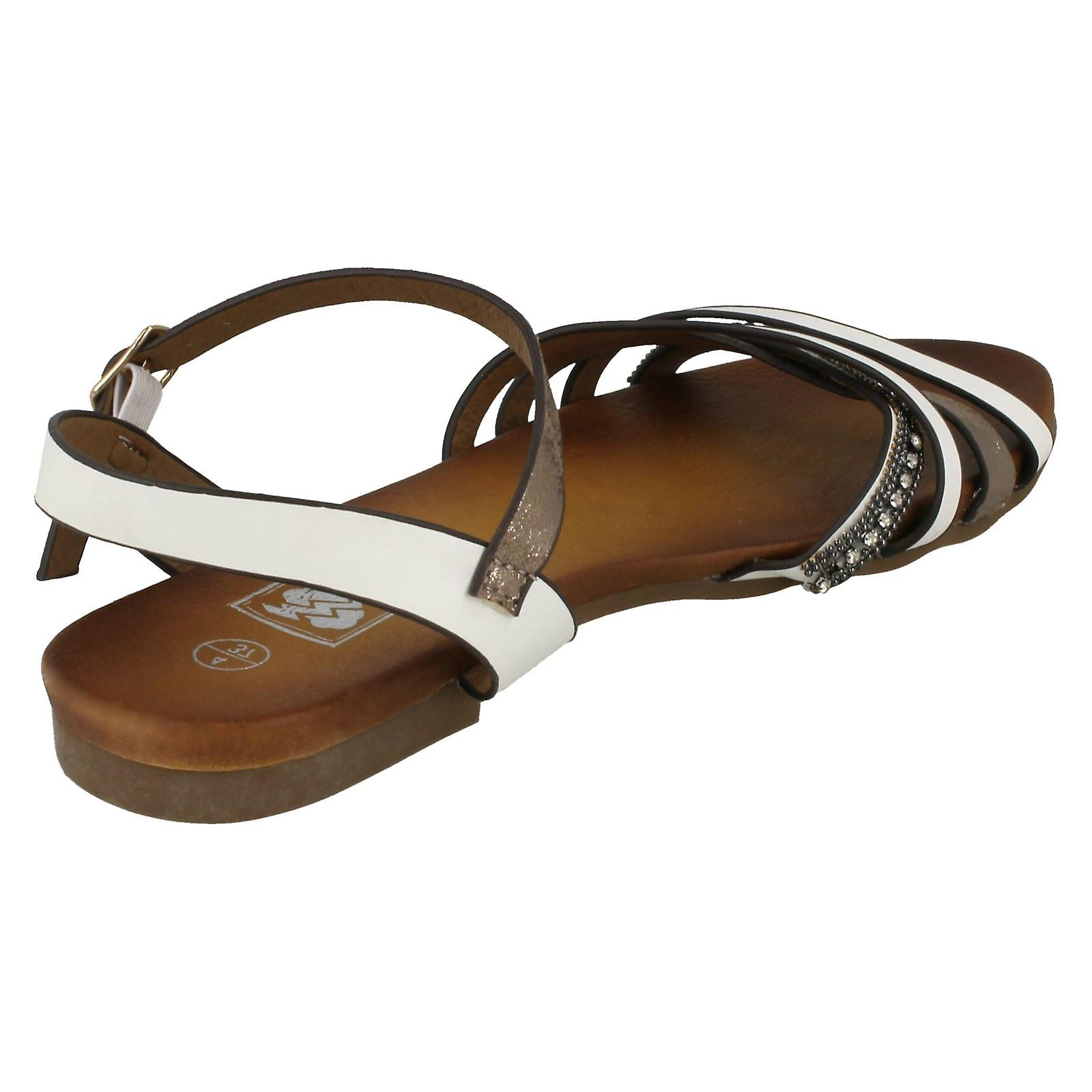 Ladies Down To Earth Flat X Strap Beaded Vamp Sandals F00032