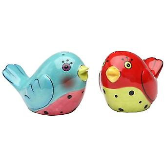 Flights of Fancy Red and Blue Love Birds Salt and Pepper Shakers Set