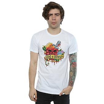 Guns N Roses Men's Heart Skull T-Shirt