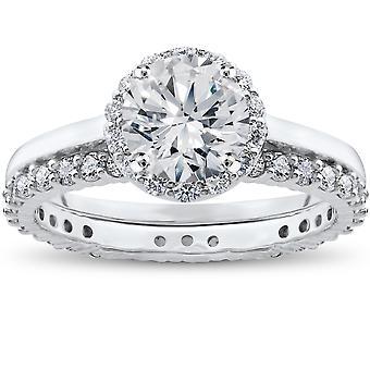 2 ct Eco Freindly Lab opprettet diamantring Madelyn Halo & evigheten Ring