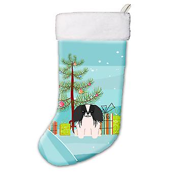 Glædelig juletræ Pekingnese sort White Christmas strømpe