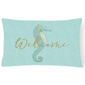 Seahorse Welcome Canvas Fabric Decorative Pillow
