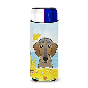 Wirehaired Dachshund Summer Beach Michelob Ultra beverage Insulator for slim can