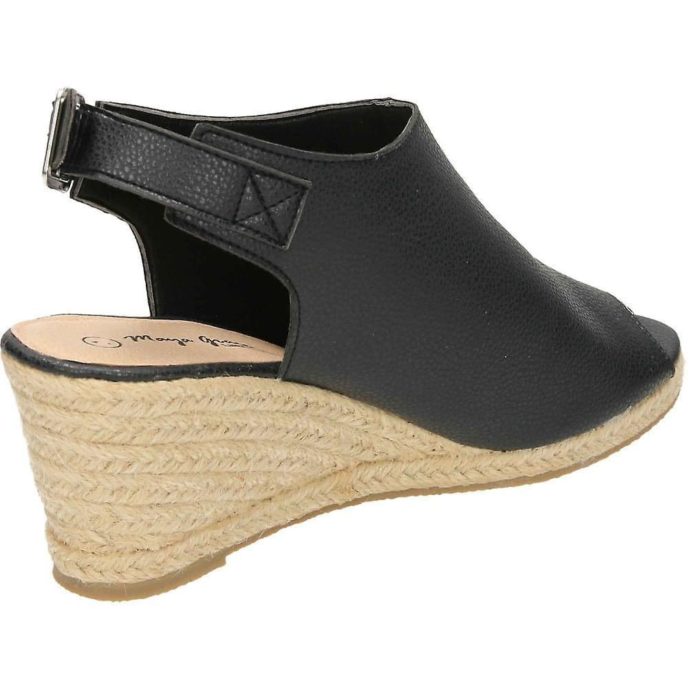 Jwf Wedge Woven Heel Peep Toe Slingbacks Black