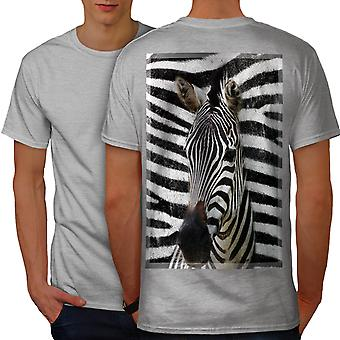Wild Animal Zebra Face Men GreyT-shirt Back | Wellcoda