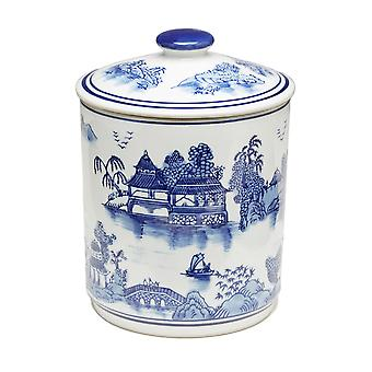 8 1/4 Inch Tall Blue And White Oriental Design Round Jar With Lid