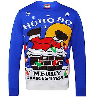 Christmas Shop vuxna Santa ner skorstenen ljus upp Jumper