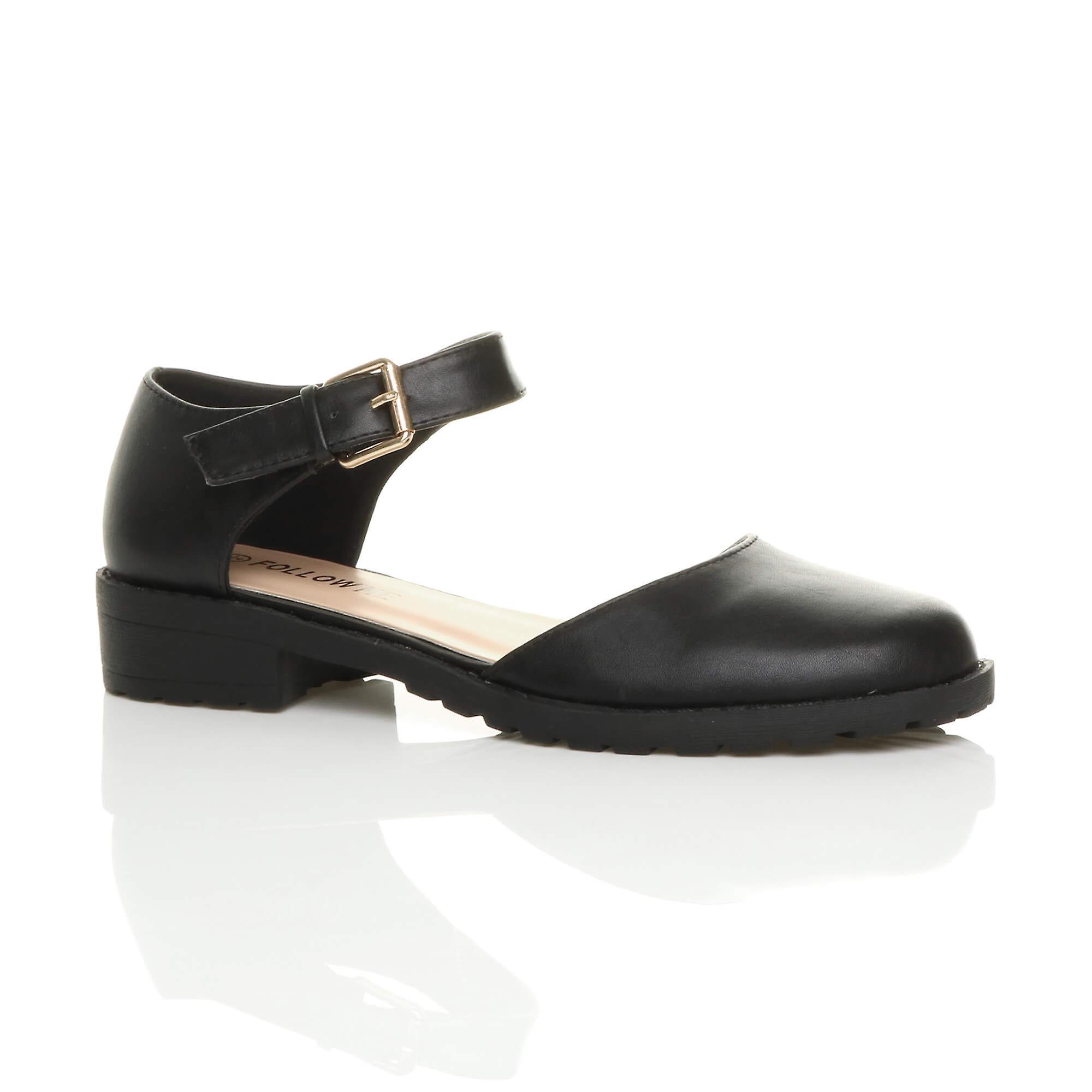 Ajvani womens low block heel ankle strap buckle cut out smart shoes HBV5I