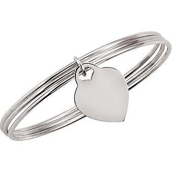 925 Sterling Silver Triple Bracelet Avec un Coeur Dangle 8 pouces Bijoux Cadeaux pour les femmes