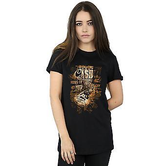 Johnny Cash kvinnors gitarr låt titlar Boyfriend Fit T-Shirt