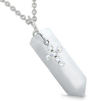 Amulett Crystal Point Heilig-Kreuz Swarovski Elementen Charme weißer Jade spirituelle Anhänger Halskette