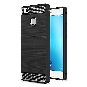 Huawei P9 Lite TPU tilfelle karbon fiberoptikk børstet beskyttelsesetui svart
