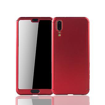 Huawei P20 Caso de proteção de caixa de telefone full cover tanque de proteção do vidro vermelho