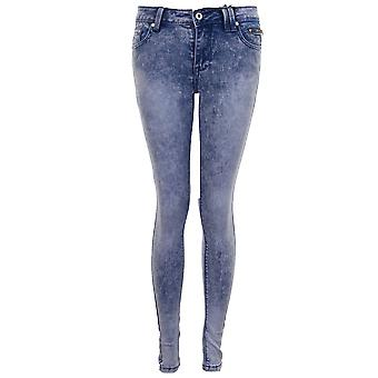 Mesdames blanchi Faded Denim Slim Fit Skinny Jeans de Light Acid Wash femmes