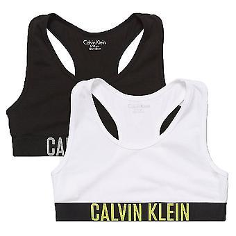 Calvin Klein Mädchen 2 Pack intensive Kraft Bralette, schwarz / weiß, XL