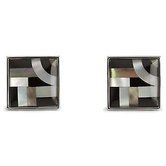 Simon Carter Onyx / Mother Of Pearl Bauhaus Lines Cufflinks - Black/White