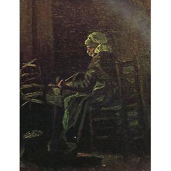 Talon poika nainen spinning Wheel, Vincent Van Gogh, 41x 32,5 cm