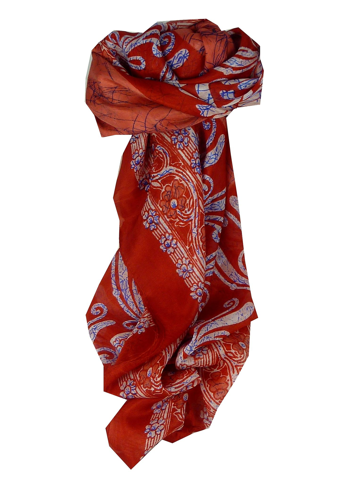 Mulberry Silk Classic Square Scarf Geena Red by Pashmina & Silk