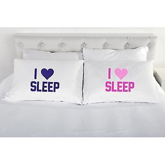 I Love Sleep Pair of Pillow Cases