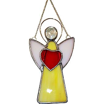 Simmerdim Design Stained Glass Angel Window Hanger Yellow