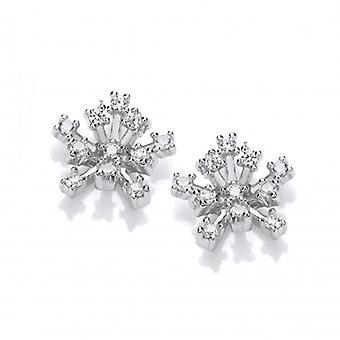Cavendish Franse zilver en CZ sneeuw kristal oorbellen