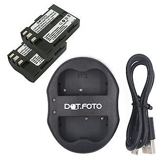 Dot.Foto Nikon EN-EL3e Replacement Battery (2-pack) + Dual USB Charger for Nikon D80, D90, D200, D300, D300s, D700