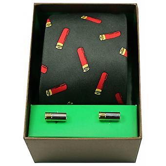 David Van Hagen Gun Cartridges Tie and Cufflink Set - Green/Red