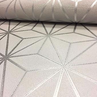 Papel pintado geométrico estrella pulso plata texturado brillo metálica fina decoración