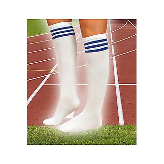 Stockings and leg accessories  White stocking with 3 blue stripes
