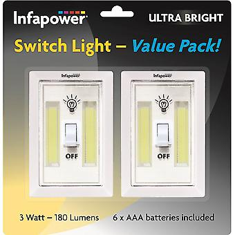 Infapower 3W COB switch Light Twin Pack (model nr. F043)